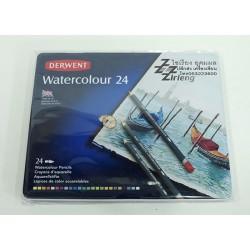 สีไม้ ระบายน้ำ Watercolour 24 สี ตรา Derwent